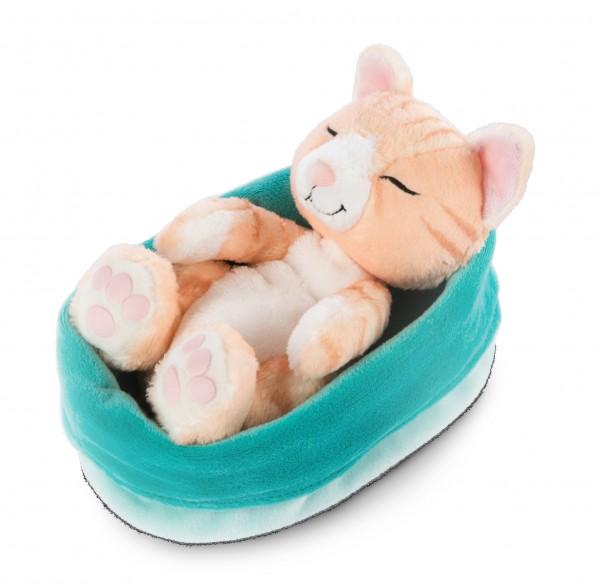 Kuscheltier Katze braun im blau-grünen Körbchen 'Sleeping Kitties'