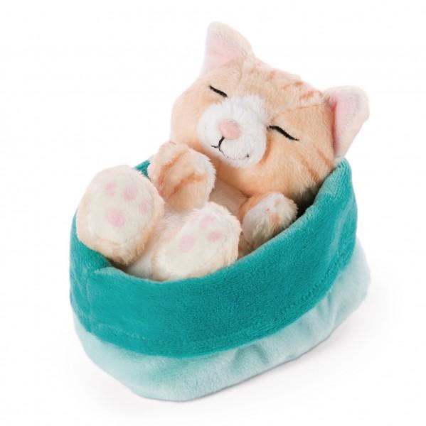 Cuddly toy cat brown in blue-green basket 'Sleeping Kitties'