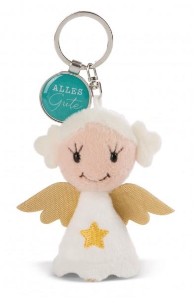 Schlüsselanhänger Schutzengel mit Stern und Anhänger 'Alles Gute'