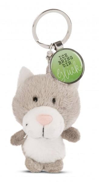 Schlüsselanhänger Katze mit Anhänger 'Ich bring dir Glück'