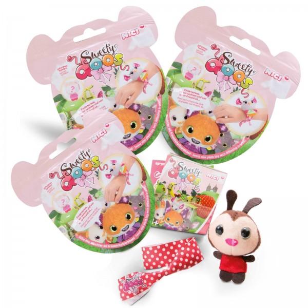 3er-Set Sweetydoos Miniplüschtiere mit Freundschaftsarmband