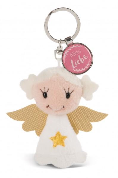 Schlüsselanhänger Schutzengel mit Stern und Anhänger 'Alles Liebe'