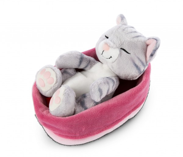 Cuddly toy cat gray in pink-lilac basket 'Sleeping Kitties'