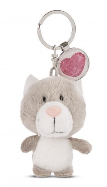 Schlüsselanhänger Katze mit Anhänger 'Herz'