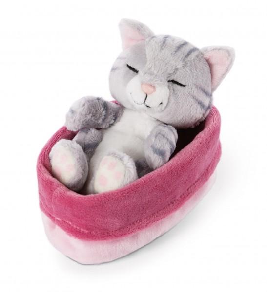 Kuscheltier Katze grau 12cm im pink-lilanen Körbchen