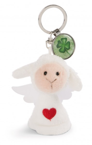 Schlüsselanhänger Schutzengel mit Herz und Anhänger 'Kleeblatt'