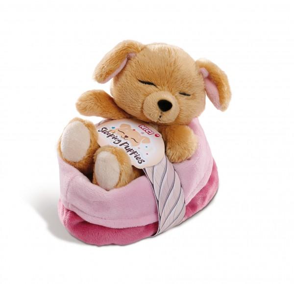 Kuscheltier Hund12cm im pink-lila Körbchen
