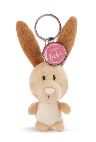 Schlüsselanhänger Hase mit Anhänger 'Alles Liebe'
