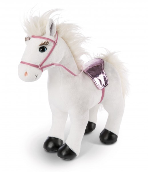 Standing cuddly toy horse Winnie with bridle and saddle