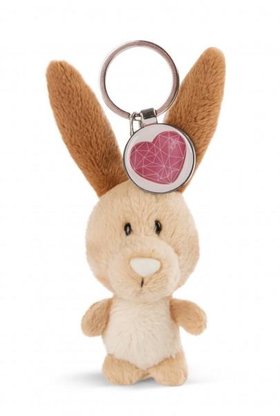 Schlüsselanhänger Hase mit Herz-Anhänger