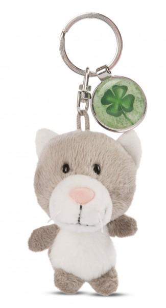 Schlüsselanhänger Katze mit Kleeblatt-Anhänger