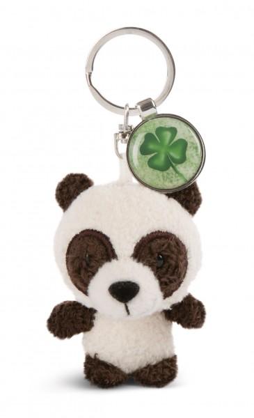 Schlüsselanhänger Panda mit Anhänger 'Kleeblatt'
