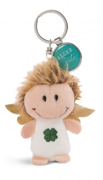 Schlüsselanhänger Schutzengel mit Kleeblatt und Anhänger 'Alles Gute'