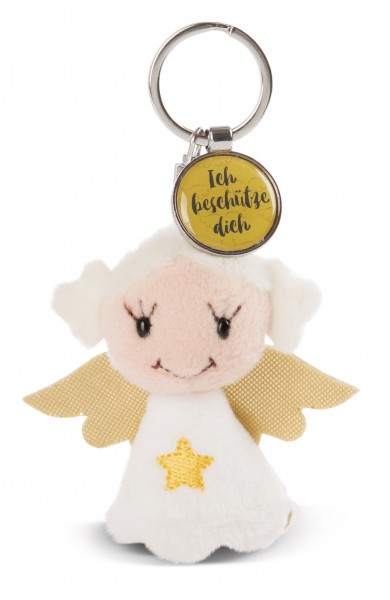 Schlüsselanhänger Schutzengel mit Stern und Anhänger 'Ich beschütze dich'