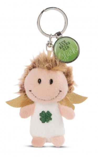 Schlüsselanhänger Schutzengel mit Kleeblatt und Anhänger 'Ich bring dir Glück'