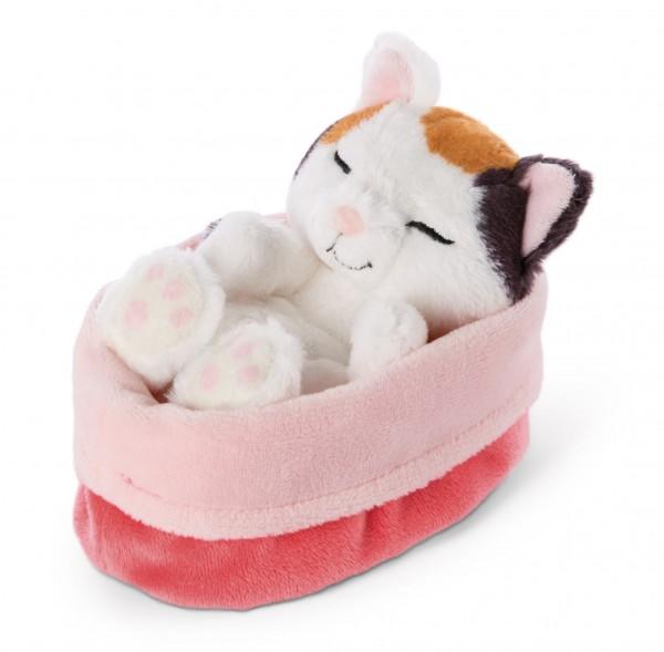 Cuddly toy cat cream, in red-rose basket 'Sleeping Kitties'